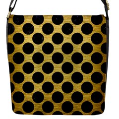 Circles2 Black Marble & Gold Brushed Metal (r) Flap Closure Messenger Bag (s) by trendistuff