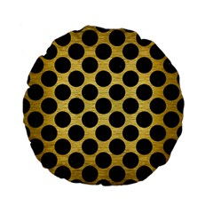 Circles2 Black Marble & Gold Brushed Metal (r) Standard 15  Premium Flano Round Cushion  by trendistuff
