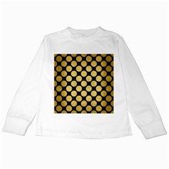 Circles2 Black Marble & Gold Brushed Metal Kids Long Sleeve T Shirt by trendistuff