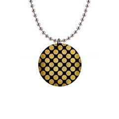 Circles2 Black Marble & Gold Brushed Metal 1  Button Necklace by trendistuff