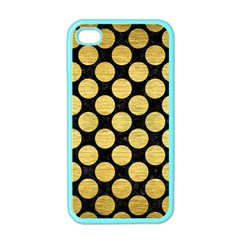 Circles2 Black Marble & Gold Brushed Metal Apple Iphone 4 Case (color)