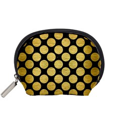 Circles2 Black Marble & Gold Brushed Metal Accessory Pouch (small) by trendistuff
