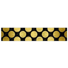 Circles2 Black Marble & Gold Brushed Metal Flano Scarf (small) by trendistuff