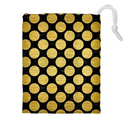 Circles2 Black Marble & Gold Brushed Metal Drawstring Pouch (xxl) by trendistuff