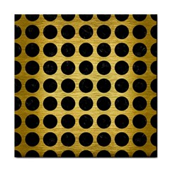 Circles1 Black Marble & Gold Brushed Metal (r) Tile Coaster by trendistuff