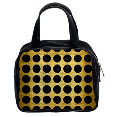 Circles1 Black Marble & Gold Brushed Metal (r) Classic Handbag (two Sides) by trendistuff