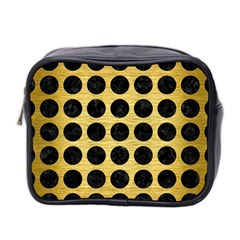 Circles1 Black Marble & Gold Brushed Metal (r) Mini Toiletries Bag (two Sides) by trendistuff