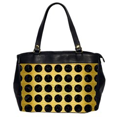 Circles1 Black Marble & Gold Brushed Metal (r) Oversize Office Handbag (2 Sides) by trendistuff