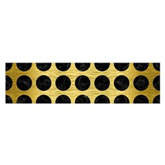 Circles1 Black Marble & Gold Brushed Metal (r) Satin Scarf (oblong) by trendistuff