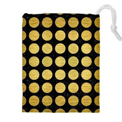 Circles1 Black Marble & Gold Brushed Metal Drawstring Pouch (xxl) by trendistuff