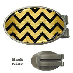 Chevron9 Black Marble & Gold Brushed Metal (r) Money Clip (oval) by trendistuff