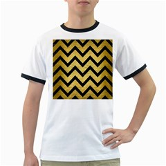 Chevron9 Black Marble & Gold Brushed Metal (r) Ringer T by trendistuff