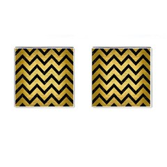 Chevron9 Black Marble & Gold Brushed Metal (r) Cufflinks (square) by trendistuff