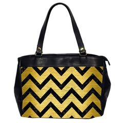 Chevron9 Black Marble & Gold Brushed Metal (r) Oversize Office Handbag (2 Sides) by trendistuff