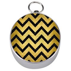 Chevron9 Black Marble & Gold Brushed Metal (r) Silver Compass by trendistuff