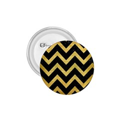 Chevron9 Black Marble & Gold Brushed Metal 1 75  Button by trendistuff