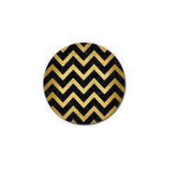 Chevron9 Black Marble & Gold Brushed Metal Golf Ball Marker (4 Pack) by trendistuff