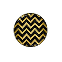 Chevron9 Black Marble & Gold Brushed Metal Hat Clip Ball Marker (10 Pack) by trendistuff