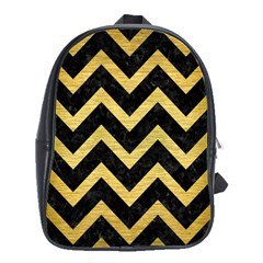 Chevron9 Black Marble & Gold Brushed Metal School Bag (large) by trendistuff