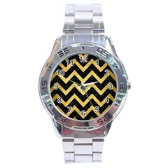 Chevron9 Black Marble & Gold Brushed Metal Stainless Steel Analogue Watch by trendistuff