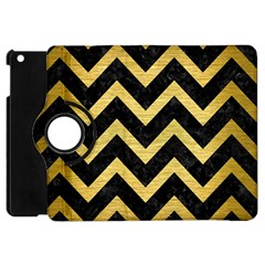 Chevron9 Black Marble & Gold Brushed Metal Apple Ipad Mini Flip 360 Case by trendistuff