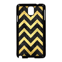 Chevron9 Black Marble & Gold Brushed Metal Samsung Galaxy Note 3 Neo Hardshell Case (black) by trendistuff
