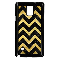 Chevron9 Black Marble & Gold Brushed Metal Samsung Galaxy Note 4 Case (black) by trendistuff