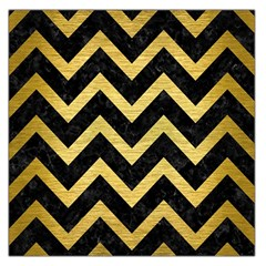 Chevron9 Black Marble & Gold Brushed Metal Large Satin Scarf (square) by trendistuff