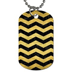 Chevron3 Black Marble & Gold Brushed Metal Dog Tag (two Sides) by trendistuff