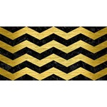 CHEVRON3 BLACK MARBLE & GOLD BRUSHED METAL #1 DAD 3D Greeting Card (8x4) Front