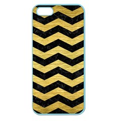 Chevron3 Black Marble & Gold Brushed Metal Apple Seamless Iphone 5 Case (color) by trendistuff