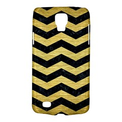 Chevron3 Black Marble & Gold Brushed Metal Samsung Galaxy S4 Active (i9295) Hardshell Case by trendistuff
