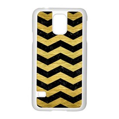 Chevron3 Black Marble & Gold Brushed Metal Samsung Galaxy S5 Case (white) by trendistuff