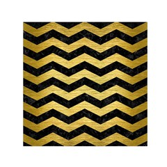 Chevron3 Black Marble & Gold Brushed Metal Small Satin Scarf (square) by trendistuff