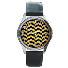Chevron2 Black Marble & Gold Brushed Metal Round Metal Watch by trendistuff