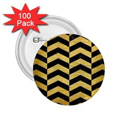Chevron2 Black Marble & Gold Brushed Metal 2 25  Button (100 Pack) by trendistuff