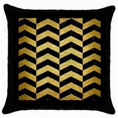Chevron2 Black Marble & Gold Brushed Metal Throw Pillow Case (black) by trendistuff
