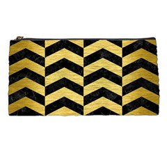 Chevron2 Black Marble & Gold Brushed Metal Pencil Case by trendistuff