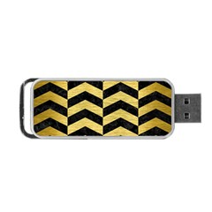 Chevron2 Black Marble & Gold Brushed Metal Portable Usb Flash (two Sides) by trendistuff