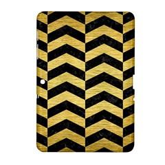 Chevron2 Black Marble & Gold Brushed Metal Samsung Galaxy Tab 2 (10 1 ) P5100 Hardshell Case  by trendistuff