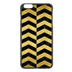 Chevron2 Black Marble & Gold Brushed Metal Apple Iphone 6 Plus/6s Plus Black Enamel Case by trendistuff
