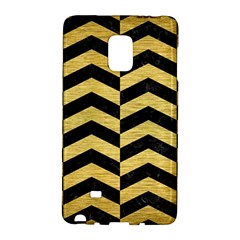 Chevron2 Black Marble & Gold Brushed Metal Samsung Galaxy Note Edge Hardshell Case by trendistuff