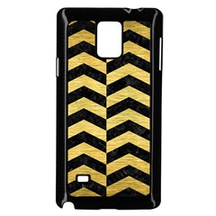 Chevron2 Black Marble & Gold Brushed Metal Samsung Galaxy Note 4 Case (black) by trendistuff