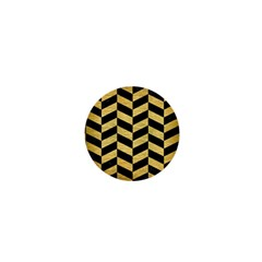 Chevron1 Black Marble & Gold Brushed Metal 1  Mini Button by trendistuff