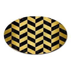 Chevron1 Black Marble & Gold Brushed Metal Magnet (oval) by trendistuff