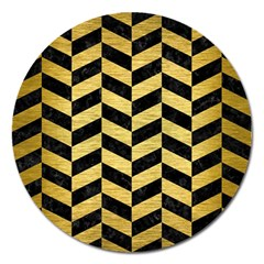 Chevron1 Black Marble & Gold Brushed Metal Magnet 5  (round) by trendistuff