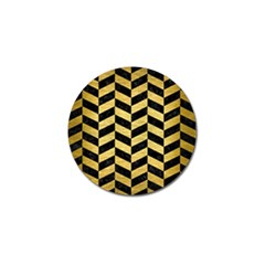 Chevron1 Black Marble & Gold Brushed Metal Golf Ball Marker by trendistuff