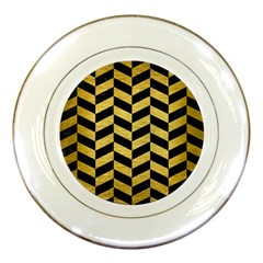 Chevron1 Black Marble & Gold Brushed Metal Porcelain Plate by trendistuff