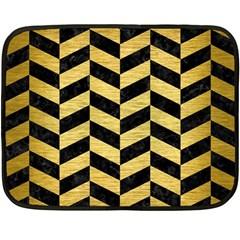 Chevron1 Black Marble & Gold Brushed Metal Double Sided Fleece Blanket (mini) by trendistuff