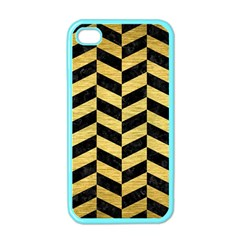 Chevron1 Black Marble & Gold Brushed Metal Apple Iphone 4 Case (color) by trendistuff